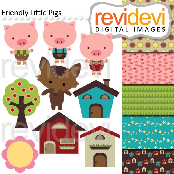 Friendly Little Pigs for your craft and creative projects.
