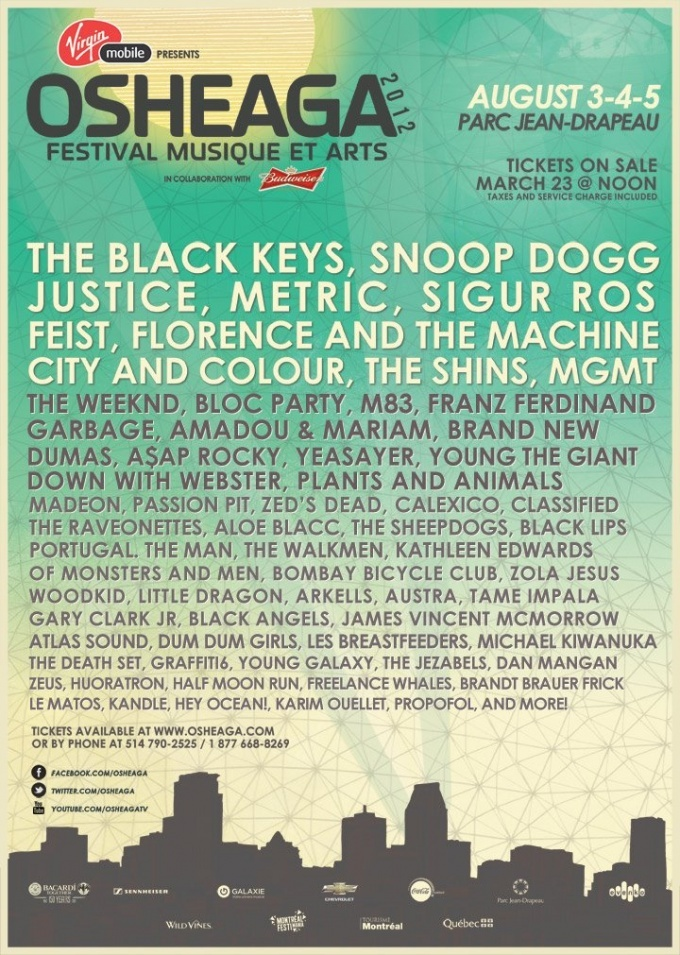 Osheaga Festival announces line-up, includes The Black Keys, The Shins, A$AP Rocky, Bloc Party and more