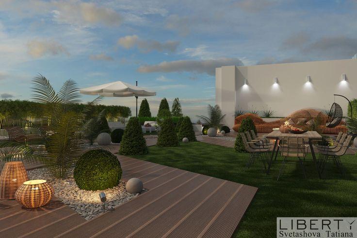 Дизайн террасы-лаундж зоны  0(555)290011 ☎️   Зона отдыха. Вечерний свет. Дизайнер SvetashovaTatiana