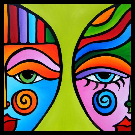 Delicate Balance - La pintura abstracta moderna original pop Arte Contemporáneo gran cubista Retrato colorido CARA por Fidostudio
