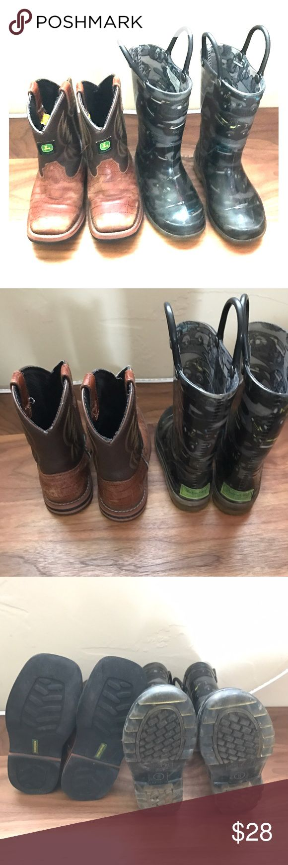 Boys boots size 8 2 pairs. Mellisa and Doug light up and John deer cowboy boots size 8. Used but still lots of life left! Shoes Rain & Snow Boots