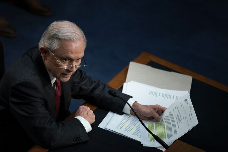 Attorney General Jeff Sessions testifies during a US Senate Select Committee on Intelligence hearing on Capitol Hill in Washington, DC, June 13, 2017.US Attorney General Jeff Sessions vehemently denied Tuesday that he colluded with an alleged Russian bid to tilt the 2016 presidential election in Donald Trump's favor. / AFP PHOTO / Brendan Smialowski (Photo credit should read BRENDAN SMIALOWSKI/AFP/Getty Images)