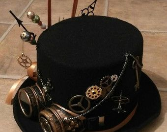 Steampunk Festival Wool/Felt Black Top Hat Stag Horns by Mad4Hats