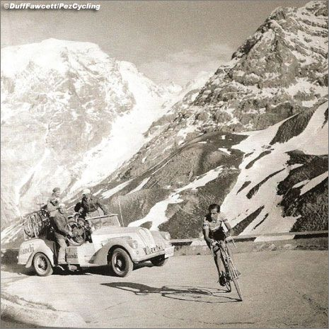 Fausto Coppi in the 1953 Giro d'Italia ascending the Stelvio.