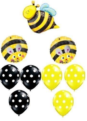 LoonBalloon BUMBLE BEE Bumble Bee Polka Dots Birthday PARTY (9) Mylar Latex BALLOONS Set Kit. #LoonBalloon #BUMBLE #Bumble #Polka #Dots #Birthday #PARTY #Mylar #Latex #BALLOONS