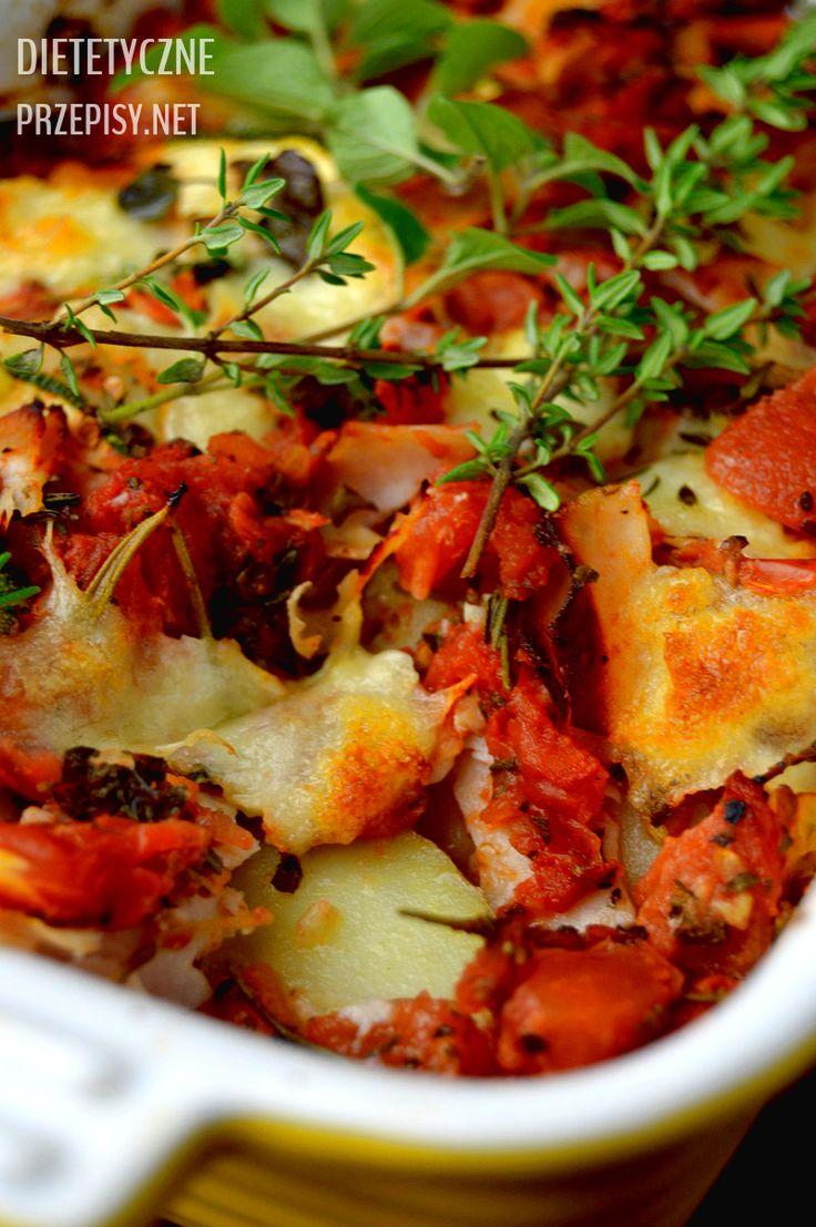 Zdrowa zapiekanka ziemniaczana z cukinią, pomidorami i mozzarellą 2