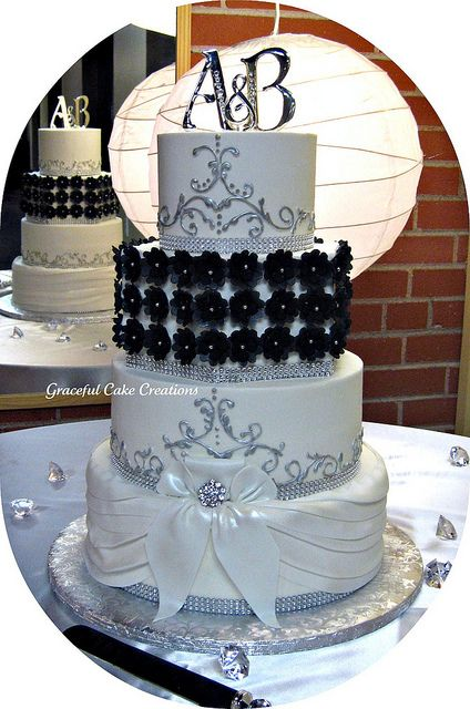 Elegant Black and White Wedding Cake by Graceful Cake Creations, via Flickr