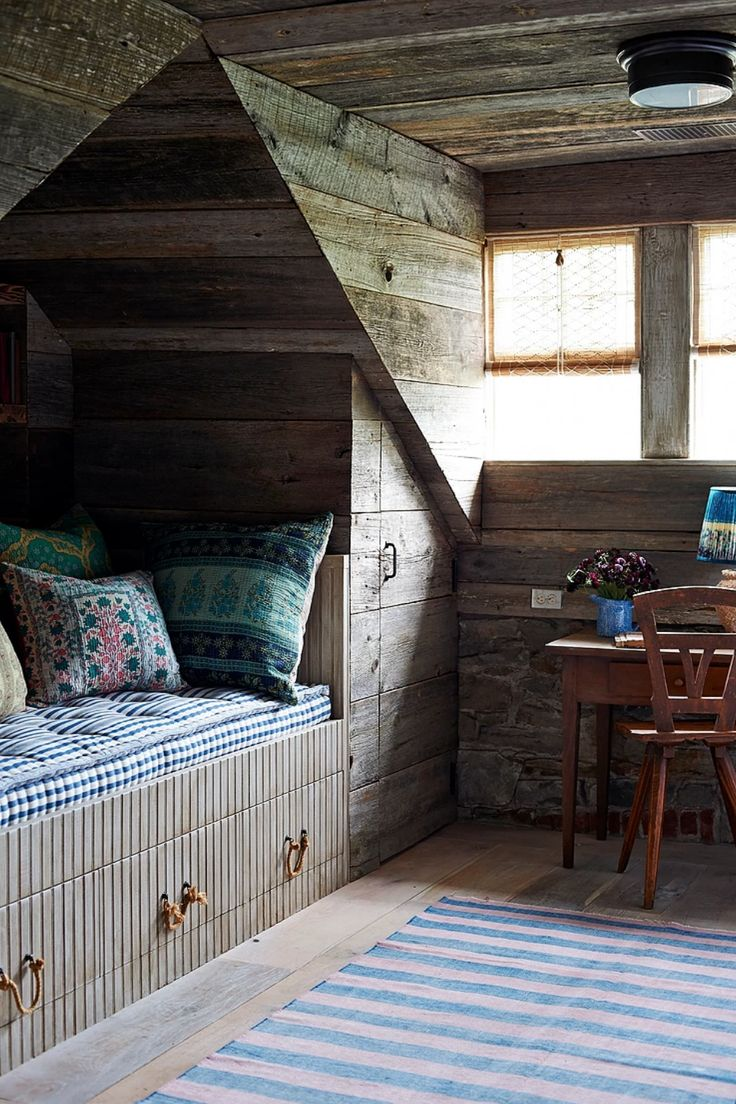 Cushion, builtin drawers, rope pulls Bohemian room