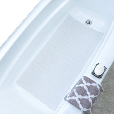 Slipx Solutions Extra Long Rubber Bath Safety Mat White Bath