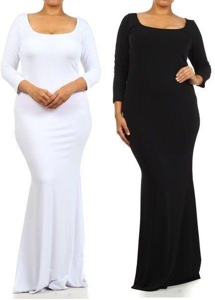 Plus Size Women Black White Slim Long Hourglass Mermaid