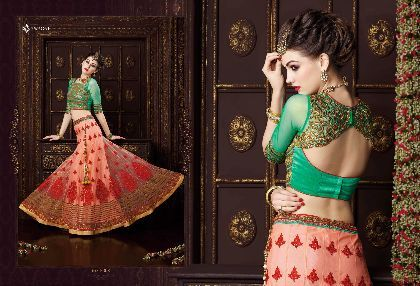 Improve your expression with cute green boys favorite Green lehenga