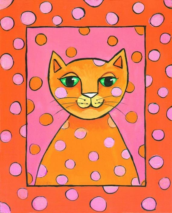 Pink Polkadot Pop Cat