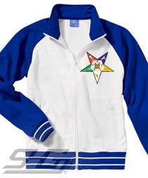 EASTERN STAR TRACK JACKET, WHITE/ROYAL  Item Id: PRE-TRK-OESSTAR-ROYAL-CR5892    Price: $89.00