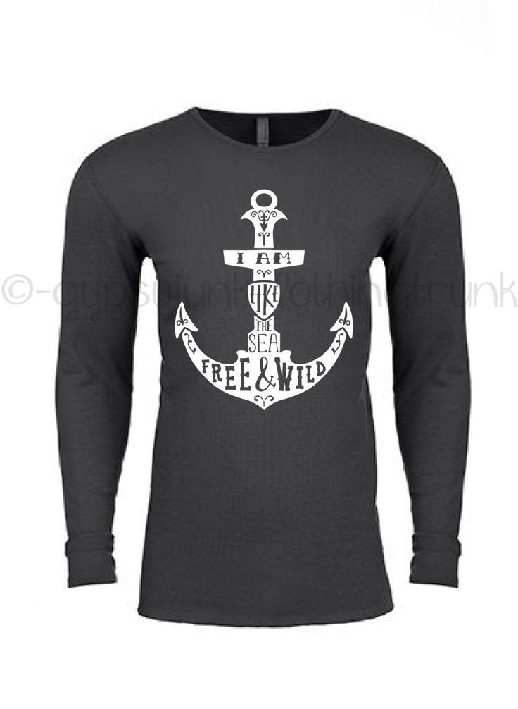 Anchor Top - Nautical Beach Thermal Shirt - Free and Wild Beach Shirt - Nautical…