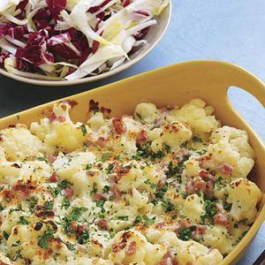 Cauliflower and Ham au Gratin, Rachael Ray's 30-Minute Meals | http://www.rachaelraymag.com/Recipes/rachael-ray-magazine-recipe-search/rachael-ray-30-minute-meals/cauliflower-and-ham-au-gratin