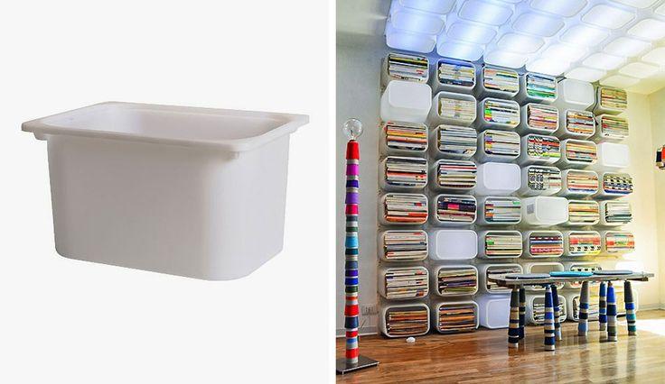 Réaliser une bibliothèque aux multiples compartiments de rangement à partir de bacs plastiques
