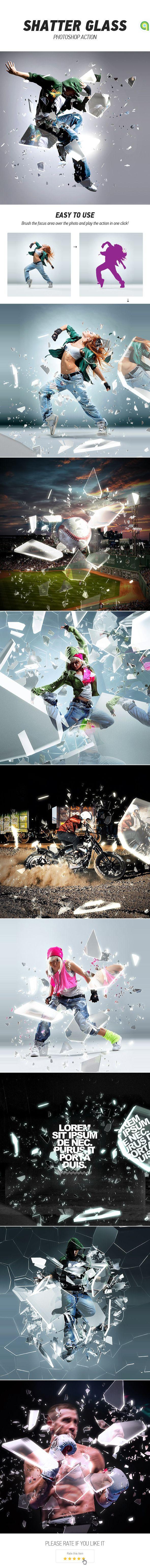 Shatter Acção vidro Photoshop - Efeitos fotográficos ações
