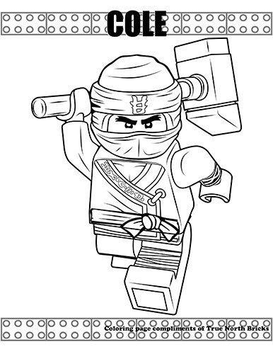 coloring page  ninja cole  true north bricks  ninjago