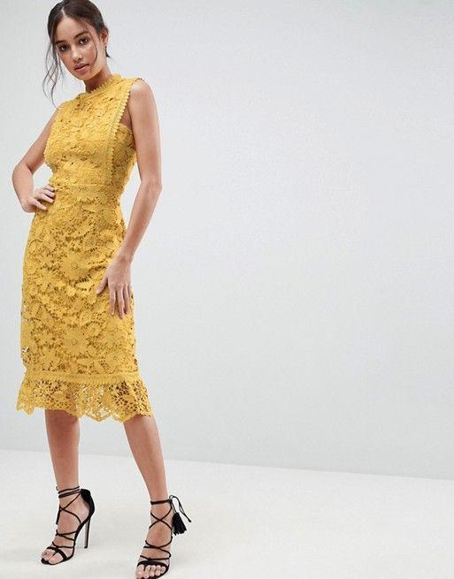 d2e2c2a27cde Boohoo exclusive bib detail lace midi dress | my style | Lace midi ...