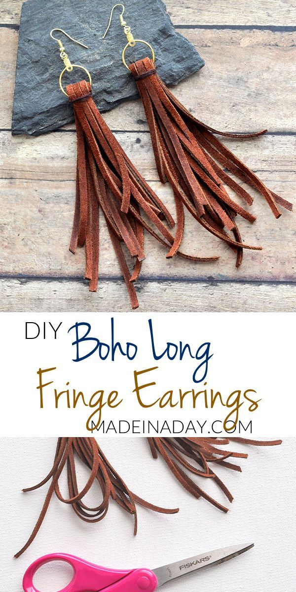 Long Dangle Suede Fringe Earrings | Made in a Day