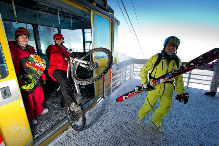 Skiing, snowboarding or.. biking?