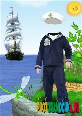 Детский костюм моряка для фотошопа в псд