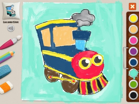 """Locomotive"" Michal (age 52) #memollow #painting #kids Jolly Machines #coloring"