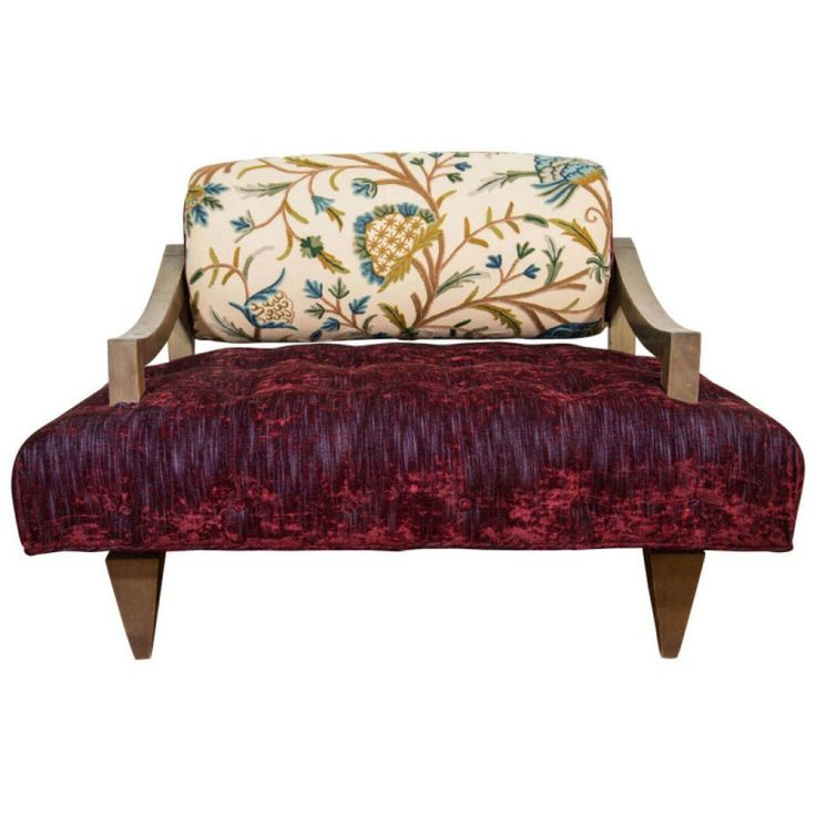 Awesome Large Contemporary Lounge Chair Decor With Dark Purple Tufted Seat  And Classical Leaf Patterned Padded