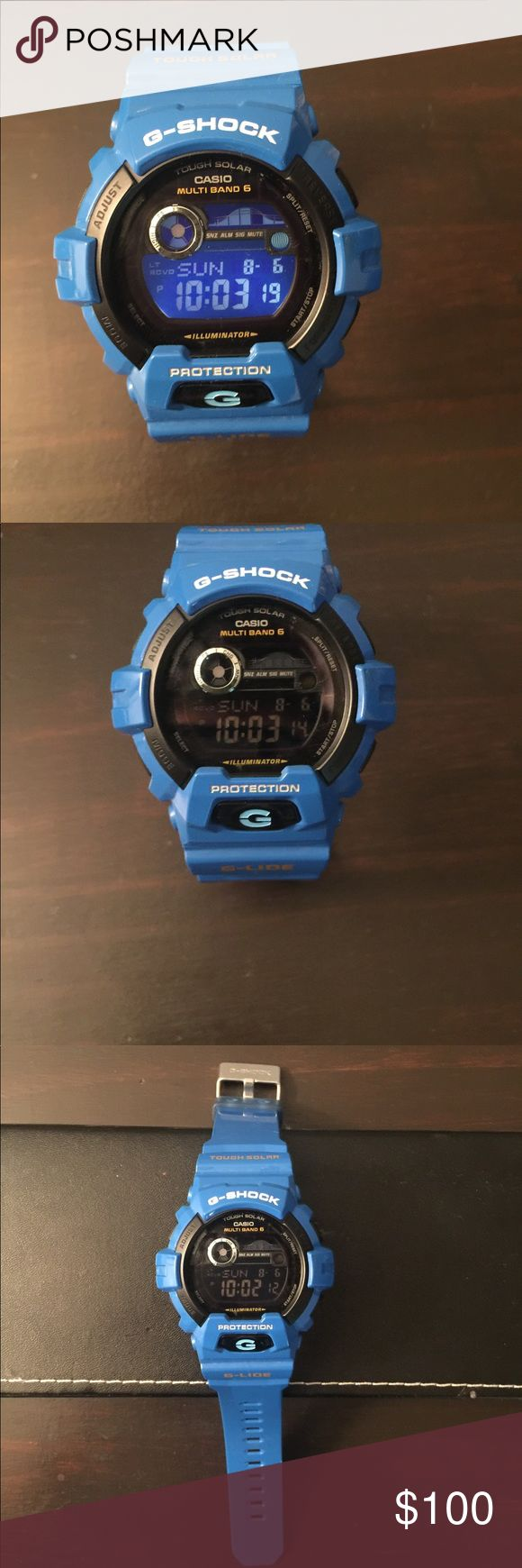 Blue G-shock Blue G-shock Solar Atomic Tide reader with Moon Graph. Worn in almost brand new conditions, no box G-Shock Accessories Watches