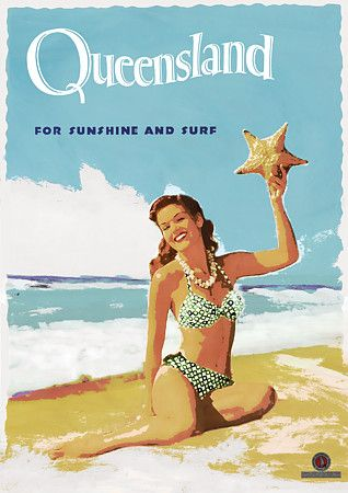 Queensland Australia Vintage Travel Poster.