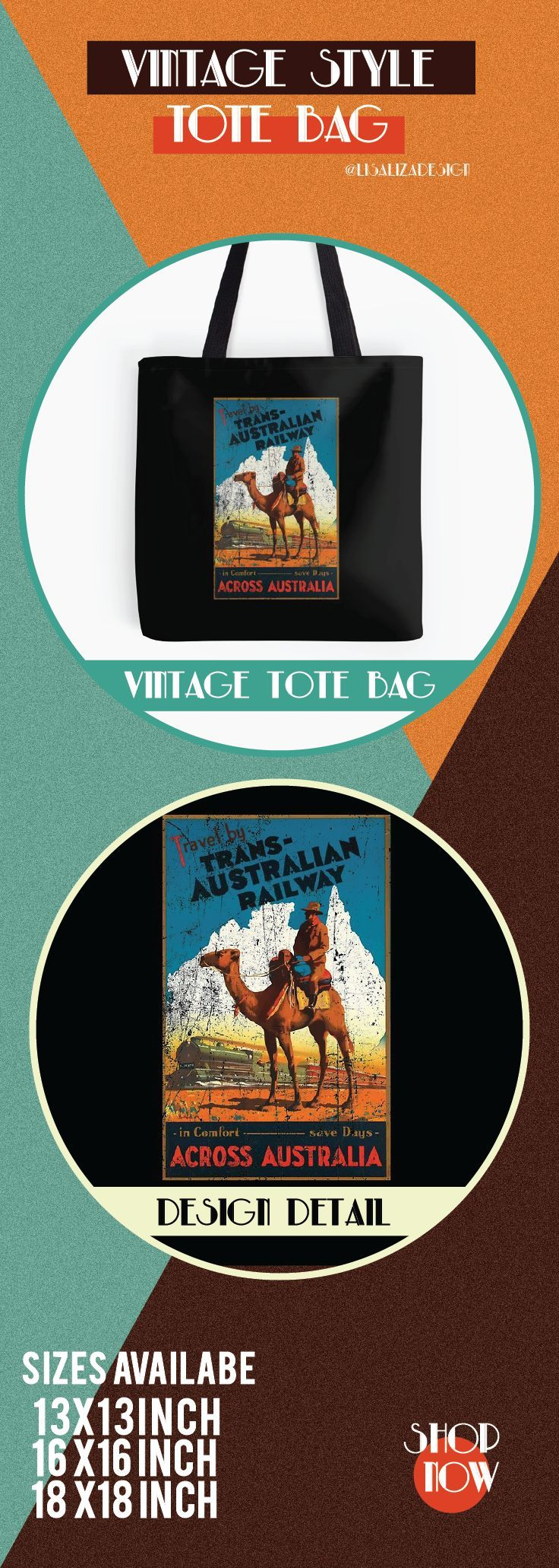 Vintage Travel Poster, Aged and Weathered - Australia.  ToteBags  A collection design inspired by vintage travel and advertisements posters  from the late 19th century printed on durable tote bags. 3 Sizes available . Excellent gift ideas for vintage lovers and everyone. #vintage #hugs #holidaygift #oldies #homedecor #retro #travelposter #totebag #redbubble #teepublic #lisalizadesign #vintageposter #oldies