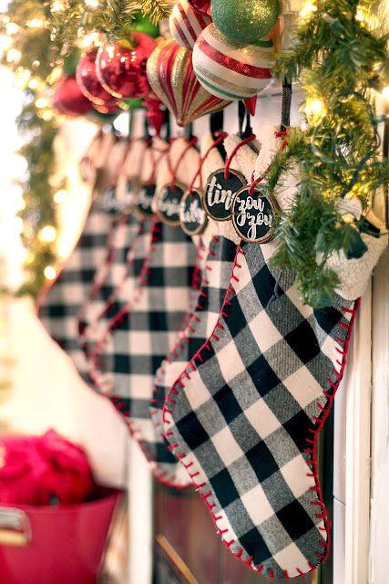 Christmas Stockings with Handmade Wood Slice Nametags