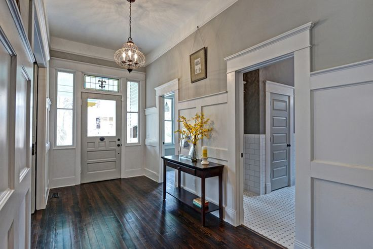 wainscoting and paint color - 'mindful gray' - Sherwin Williams