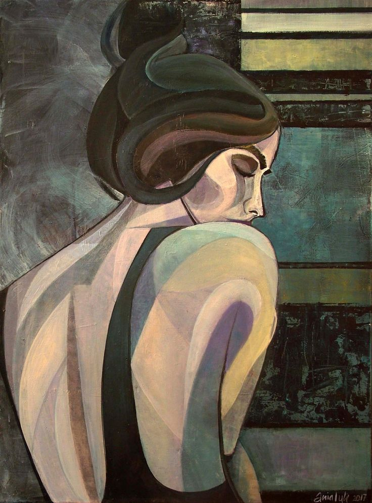 Sensual 2 (80x60 cm) original textured acrylic painting on canvas of a beautiful mysterious woman by emerging artist @anialuk_art. Contemporary Art inspired by Art Deco. #painting #woman
