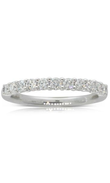 18ct white gold .50ct claw set diamond band. Perfect for a glittering wedding band, or a sparkling statement.
