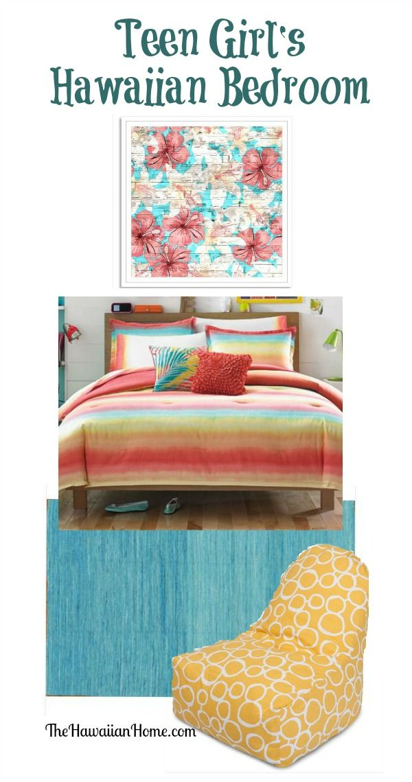 Energetic Teen Girl's Hawaiian Bedroom - The Hawaiian Home