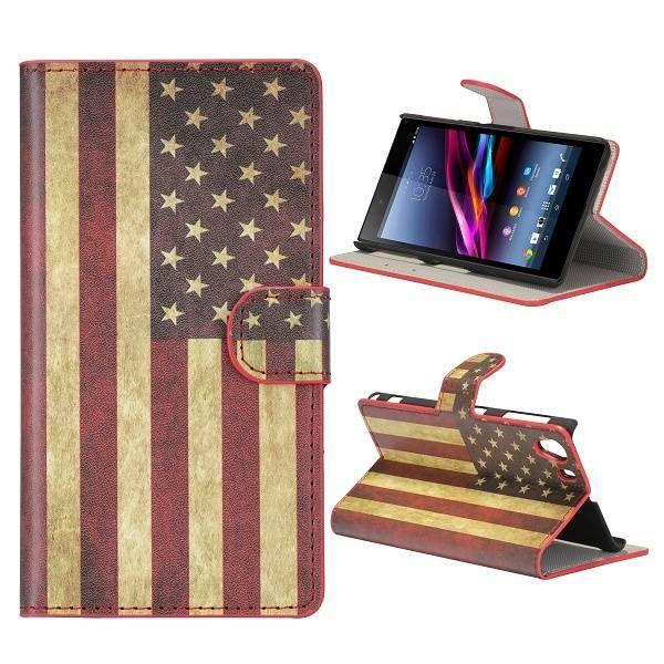 USA vlag bookcase hoesje voor de Sony Xperia Z1