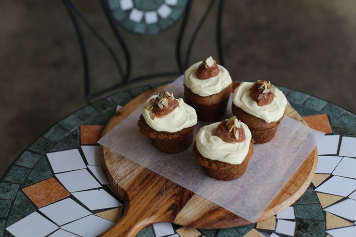 Spiced parsnip & pear cakes with creamy mascarpone