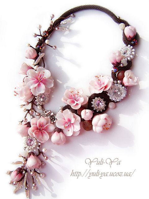 Blossoms (polymer clay) and bead necklace by Yuli-Ya on Flickr