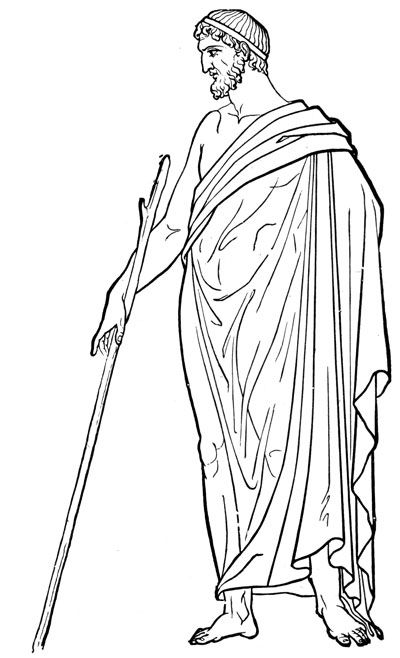 Line Art History : Ancient greek costume this is a drawing man wearinga