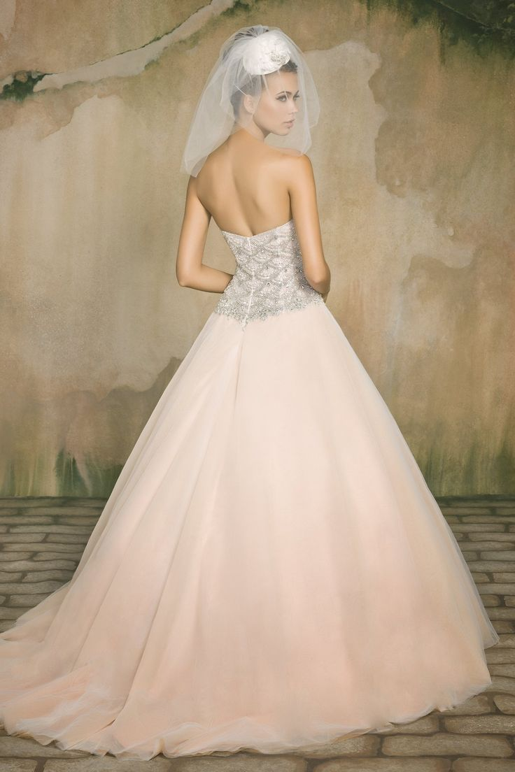 Cute Lace Organza Ball Gown Wedding Dress with Embroidered Applique Detail Rum Pink