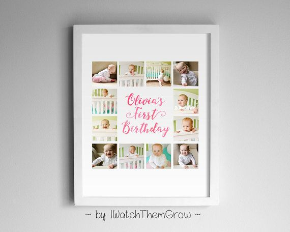 Birthday Photo Collage Watercolour Print, Baby's First Birthday Photo Collage, Pink Blue Purple, 8x10 or 11x14 DIGITAL FILE