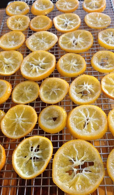 Candied Lemons -- They would be a lovely hostess gift, packed in a small Mason jar. via @Linda Bruinenberg {Les Petites Gourmettes}