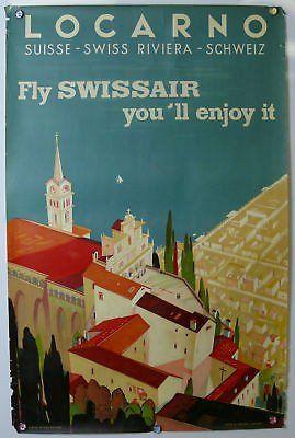 Locarno Switzerland Original Vintage Travel Poster 1944