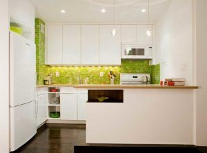 Contemporary Style Kitchen With Green Backsplash