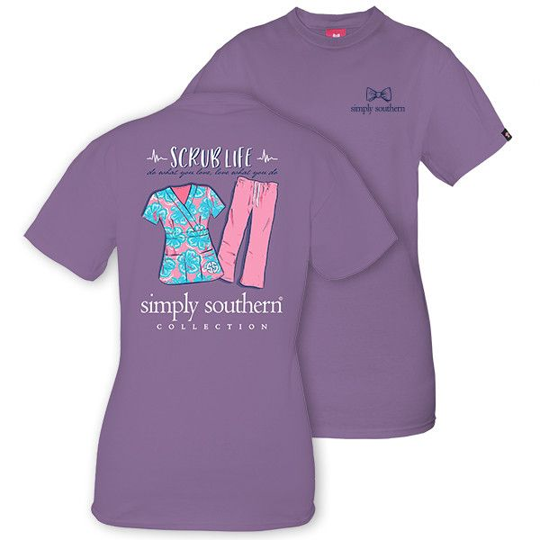 Simply Southern Preppy Scrub Life Nurse Nursing T-Shirt Available in sizes- Adult S,M,L, XL