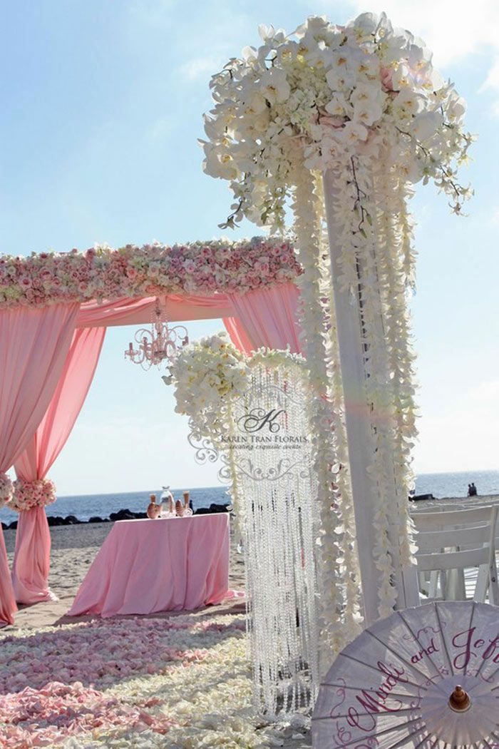 Pink and White beach Wedding ceremony flowers, wedding aisle décor, pew flowers, wedding flowers, add pic source on comment and we will update it. www.myfloweraffair.com can create this beautiful wedding flower look.