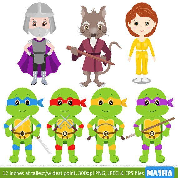 Ninja Turtle Clip Art: Gráfico de tortuga NINJA por MashaStudio