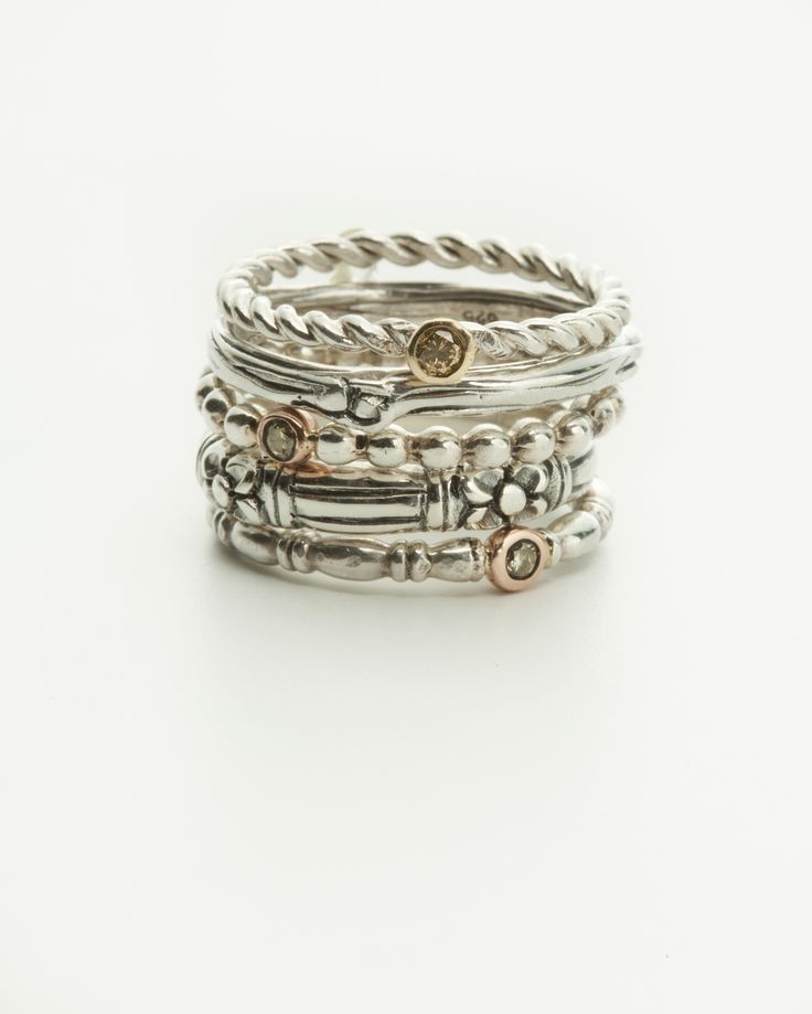 Stack Rings - two tone, gold, silver, diamonds, handmade