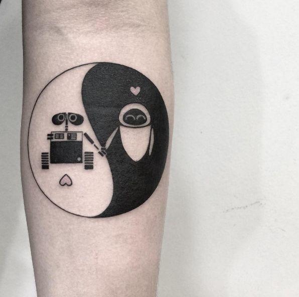 WALL-E inspired yin yang tattoo by Fin Tattoos